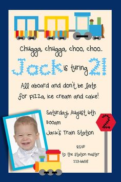 Choo Choo Train Birthday Invitation. $12.50, via Etsy.