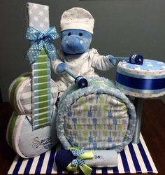 Diaper Band, Diaper Drum Set, Diaper Cakes, Unique Baby Gifts, Rock Star