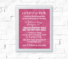 I Believe In Pink - Printable Art - Printable Quote - Printable Wall Art - Inspirational Quote - Instant Download - Wall Art Print | Quote