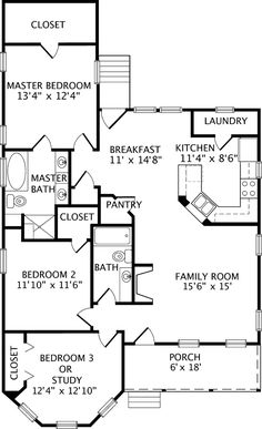 House Floor Plans 3 Bedroom 2 Bath 3 bedroom, 2 bath 1300 square foot one story house. widen house to
