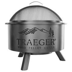 Outdoor Fire Pit. A stylish patio centerpiece, the Traeger Outdoor Fire Pit is a great reason to gather together. It can use the same 100% hardwood pellets as our grills or regular firewood, has a porcelain grill grate, and mesh lid for safely roasting marshmallows with the kids. You'll be able to admire the fire through the Traeger logo side cut-outs while keeping warm and cozy—Traeger style.