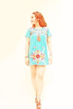 Turquesa Mexican Embroidered Mini Dress Colorful by AidaCoronado