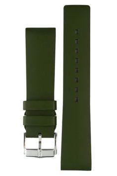 Hirsch Pure rubber watch strap in Green