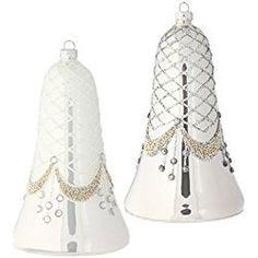 "RAZ Imports - Elegant 6"" Beaded Silver and White Gem Bell Christmas Tree Ornaments - Set of 2"