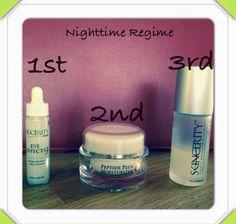 Nucerity Nighttime regime; Step 1. Eye Effects 3 Step 2. Peptide plus moisturiser Step 3. Skincerity