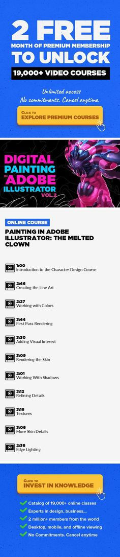 Painting in Adobe Illustrator: The Melted Clown Illustration, Adobe Illustrator, Character Design, Concept Art, Creative, Rendering, Concept Design, Ideation, Vector Graphics #onlinecourses #onlinecoursestips #CoursesEntrainement   Resolution-free digital art! Are you looking to start your career as a character designer? Are you looking for a way to hone your digital art skills? In this course, yo...