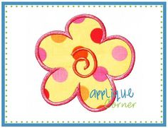 026 Flower with Swirl applique digital by AppliqueCornerDesign