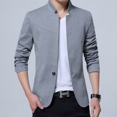 Buy 2017 None England Style Cotton Solid Size Mandarin Collar Formal Masculino Costume Homme Regular Single Button Full Blazer . Blazers For Men Casual, Casual Blazer, England Mode, Blazer Outfits Men, Men Blazer, Slim Fit Jackets, Men's Jackets, Revival Clothing, Clothes 2018