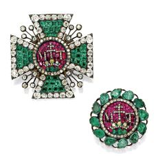 Two Emerald, Ruby and Diamond Insignia of the Royal Hungarian Order of St. Stephen, Comprised of Two Brooches Set With Square-Cut and Pear-Shaped Emeralds, Cushion-Shaped Rubies and Old Mine Diamonds, Representing the Badge and Central Section taken from a Breast Star, ca. 1780's.