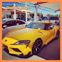 We have some incredible Toyotas here on the lot. Take this nice new Nitro Yellow Supra for instance! Come by to check out our inventory today. @cj.sells.toyota  #ToyotaofOrange #Toyota #ToyotaUSA #ToyotaSoCal #SouthernCalifornia #SoCal #ToyotaCars #ToyotaTrucks #OC #Orange #OrangeCA #Orangecounty #OrangeCountyCA #grsupra #supra #toyotasupra Toyota Trucks, Toyota Cars, Toyota Usa, Orange County, Southern California, Oc, The Incredibles, Yellow, Vehicles