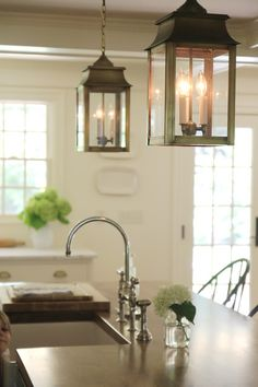 "Brass Lanterns in White Kitchen. Jenny Steffens Hobick: Our ""Classic"" White Kitchen Design 