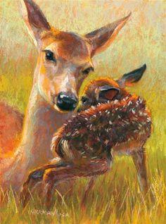 Pin by rita kirkman on ranch animal paintings (besides cows) Pastel Artwork, Acrylic Artwork, Pastel Paintings, Animal Paintings, Animal Drawings, Deer Art, Surrealism Painting, Pastel Drawing, Baby Deer