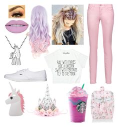 """Unicorn Hair and Love"" by books-bands-love ❤ liked on Polyvore featuring beauty, Alex Woo, Just Cavalli, Vans, Miss Selfridge and Monsoon"