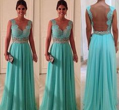 A line Turquoise Lace Chiffon Backless Prom Dresses Long with Beaded Sash/Evening Dresses/Formal Dresses/Bridesmaid Dresses/Party Dress on Etsy, $149.99