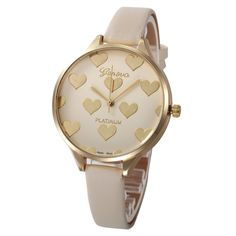 Newest hot quartz watch Women Casual lovely heart pattern slim Faux Leather strap Quartz Analog Wrist Watch relogios femininos#y #men, #hats, #watches, #belts, #fashion, #style