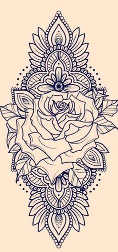 Zadi henna thigh tattoo, henna tattoo sleeve, back of thigh tattoo, rose tattoo Forearm Mandala Tattoo, Henna Tattoo Sleeve, Mandala Rose Tattoo, Back Tattoo, Tattoo Arm, Mandala Sleeve, Forearm Sleeve, Arm Tattoo Ideas, Mandala Tattoo Shoulder