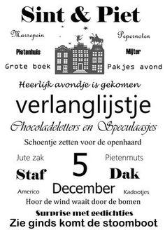 Poster Sinterklaas kapoentje verkrijgbaar in formaat A4, A5 en A6.