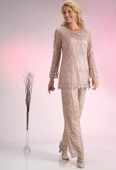 Mother of the Bride...Soulmates C80783 Crochet Beaded Silk Lace 2 pc Pant Suit