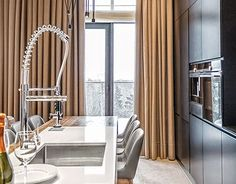 Apartment with park view. Black Cabinets, Black Wood, Paint Colors, Minimalist, Studio Apartments, Small Kitchens, Interior Design, Architecture, Table