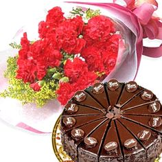 Carnation With Cake : buy flowers online, buy cake online, send flowers, cakes to India