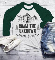 de286ba04 Men's Roam Unknown T Shirt Hipster Camping Shirts 3/4 Sleeve Raglan  Adventure Awaits Mountains Graphic Tee Hipster