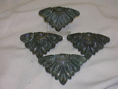 """4 Vintage Drawer Pulls Ornate Triangle Shape 4"""" Hardware Brass N5195 KBC DIY"""