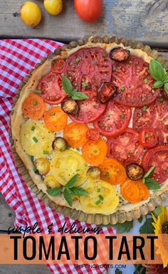 With only 4 ingredients, this stunning tomato tart with phyllo pastry & Boursin cheese is the appetizer recipe to make to impress your guests. Your fresh garden tomatoes have never looked (or tasted! Garden Tomato Recipes, Fresh Tomato Recipes, Vegetable Recipes, Cheese Appetizers, Appetizer Recipes, Boursin Cheese, Whole Food Diet, Garden Tomatoes, Tomato Garden