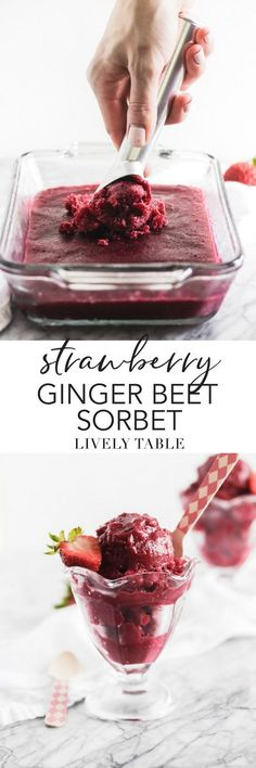 Vibrant Strawberry Ginger Beet Sorbet is the perfect light dessert for summer! It's naturally gluten-free, vegan, fat free, and loaded with vitamins! Gluten Free Desserts, Healthy Desserts, Delicious Desserts, Dessert Recipes, Vegan Snacks, Dessert Bars, Light Desserts, Frozen Desserts, Frozen Treats