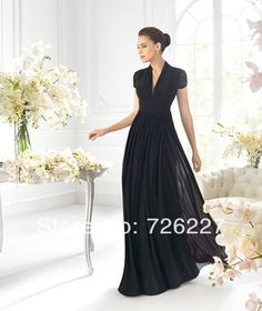 New Arrival Modest V-NECK Black Fashion Chiffon Long Juniors for Weddings Plus Size 2014 Bridesmaid Dresses with Sleeves