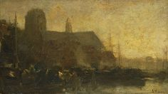 Jacob Maris, Schepen in de haven van Dordrecht, 1880-1899, olieverf op doek, 21.5 x 37.5 cm, Rijksmuseum, Amsterdam