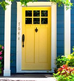 Yellow Front Door. For more ideas on fabulous colors for your front door, go to http://decoratingfiles.com/2012/08/8-fabulous-colors-for-front-doors/