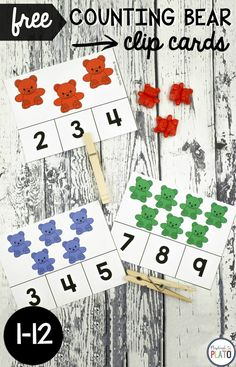 Bear Clip Cards Awesome counting activity for preschool! Great for fine motor practice too.Awesome counting activity for preschool! Great for fine motor practice too. Bears Preschool, Numbers Preschool, Kindergarten Math, Preschool Activities, Preschool Spanish, Elementary Spanish, Math Numbers, Elementary Math, Counting Bears