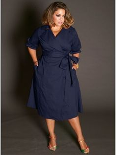Boulangerie Plus Size Wrap Dress in Navy