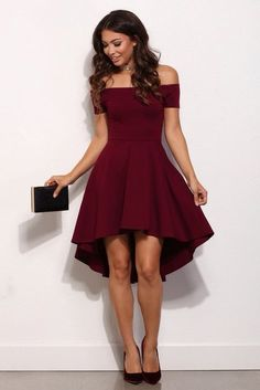 High Low Simple Style Cheap Burgundy Party Dress Sexy Off The Shoulder Cocktail Gowns 2017 Vestidos De Festa High Low Prom Dresses, Hoco Dresses, Pretty Dresses, Beautiful Dresses, Woman Dresses, Hi Low Bridesmaid Dresses, Spring Dresses, 60s Dresses, Peplum Dresses