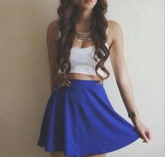 Royal blue skater skirt with white crop top Crop Top Outfits, Skirt Outfits, Dress Skirt, Waist Skirt, Cute Fashion, Teen Fashion, Fashion Outfits, Womens Fashion, Dress Fashion
