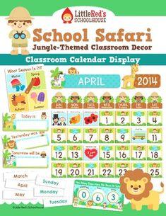 Calendar Display - Jungle Safari Theme - morning work $