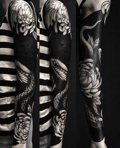 80 Delightful Blackwork Tattoo Designs Redefining the Art of Tattooing Hello! Here we have nice wallpaper about black tattoo designs with m. M Tattoos, Tattoos Skull, Black Ink Tattoos, Badass Tattoos, Flower Tattoos, Body Art Tattoos, Black Snake Tattoo, Solid Black Tattoo, Blackout Tattoo