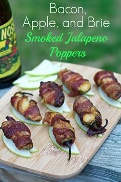 Smoked Jalapeño Poppers with Bacon, Apple, and Brie - Low carb and gluten free spicy cheesy poppers.  Perfect for your next cookout!