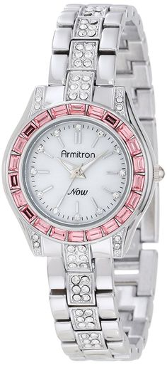 Armitron Women's 75/5053MPSVPK Pink Swarovski Crystal Accented Silver-Tone Bracelet Watch >>> You can get more details by clicking on the image.