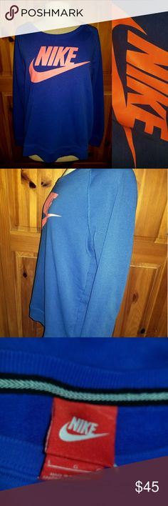Retro Nike Crew Sweatshirt Slip on this cute blue Nike sweater this Fall!! A cute blue color with a neon coral Nike. It is soft and comflortable :) Condition: EUC Retail: $60.00 Size: L In love with this sweater?? Make me an offer or add to a bundle for a private offer! Nike Sweaters Crew & Scoop Necks