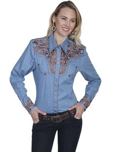 2203ca4bfde Vintage Inspired Western Shirt Ladies Scully Gunfighter Rust Blue Front  XS-2XL