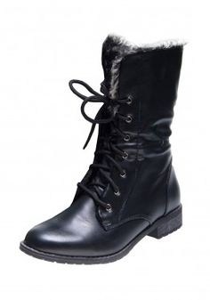 Join the military trend in our Faux Fur Lined Army Boots! www.revuk.com