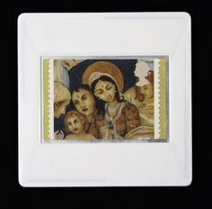 """Christmas Brooch """"'Madonna and the Infant Jesus' (from India)"""" postage stamp issued in Designed by Irene Von Trekow who also designed the Christmas stamps in The postage stamp is highlighted using a textured, gold paper. Royal Mail Postage, Gold Paper, Baby Jesus, Postage Stamps, Irene, Madonna, Brooches, Festive, Infant"""