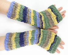 knit fingerless gloves knit arm warmers textured fingerless mittens fall autumn kakhi yellow lavender purple seafoam tagt team teamt