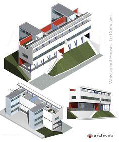 Citrohan house nel quartiere Weissenhof 2 (1927) | Le Corbusier | Archweb 3D