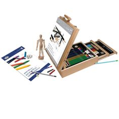 This Royal & Langnickel® Sketching and Drawing Artist Easel Set is the ideal sketching and drawing set for beginners, students or practicing artists.  124-piece collection features a wide variety of pencils, pastels and charcoals fitted into a convertible, two-drawer chest that opens to reveal a third tray of even more artist materials. The storage chest converts quickly into a sturdy table-top easel. It can easily be removed and conveniently stored in the chest when traveling.