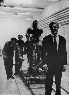 Federico Fellini and Marcello Mastroianni on the set of 8 1/2 (Federico Fellini, 1963)