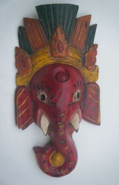 Hand Carved Ganesha Elephant Deity Wooden Mask, Hindu God Mask India Rare #760