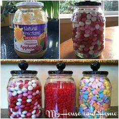 from applesauce jars to Valentine candy jars Mason Jars, Bottles And Jars, Mason Jar Crafts, Glass Jars, Cute Crafts, Diy And Crafts, Vase Deco, Pickle Jars, Pickle Jar Crafts