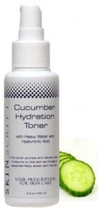 Cucumber Hydration Toner with hyaluronic acid, heavy water and cucumber: Rehydrates the skin while improving cellular functions and absorption of ingredients.  Soothes and normalizes skin tissues.